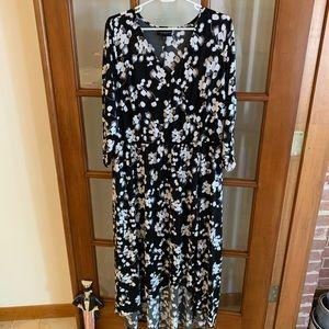 Lane Bryant High Low Floral 3/4 Sleeve Dress